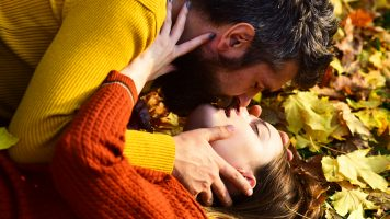 couple in love dating in fall