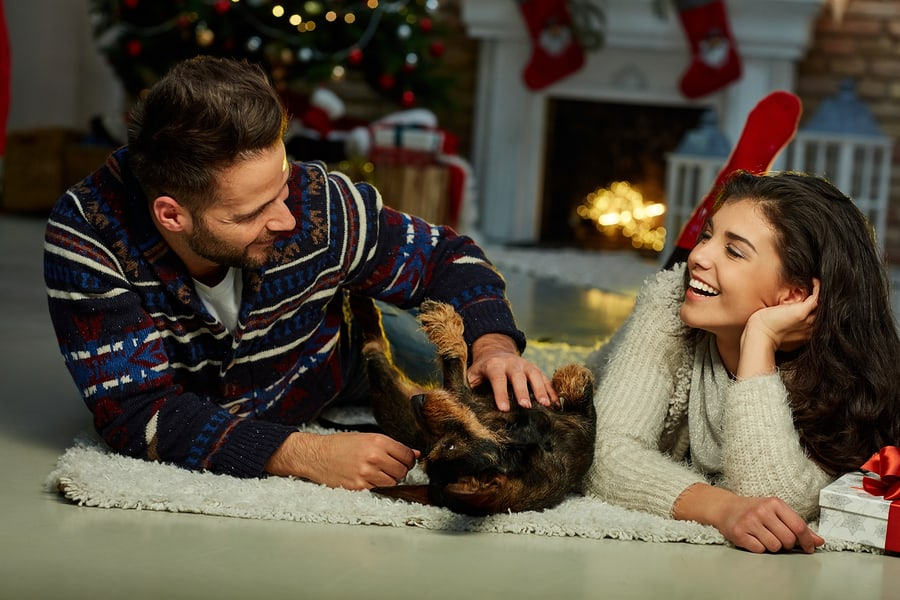 Christmas couple at home in Winter. Happy young couple lying on
